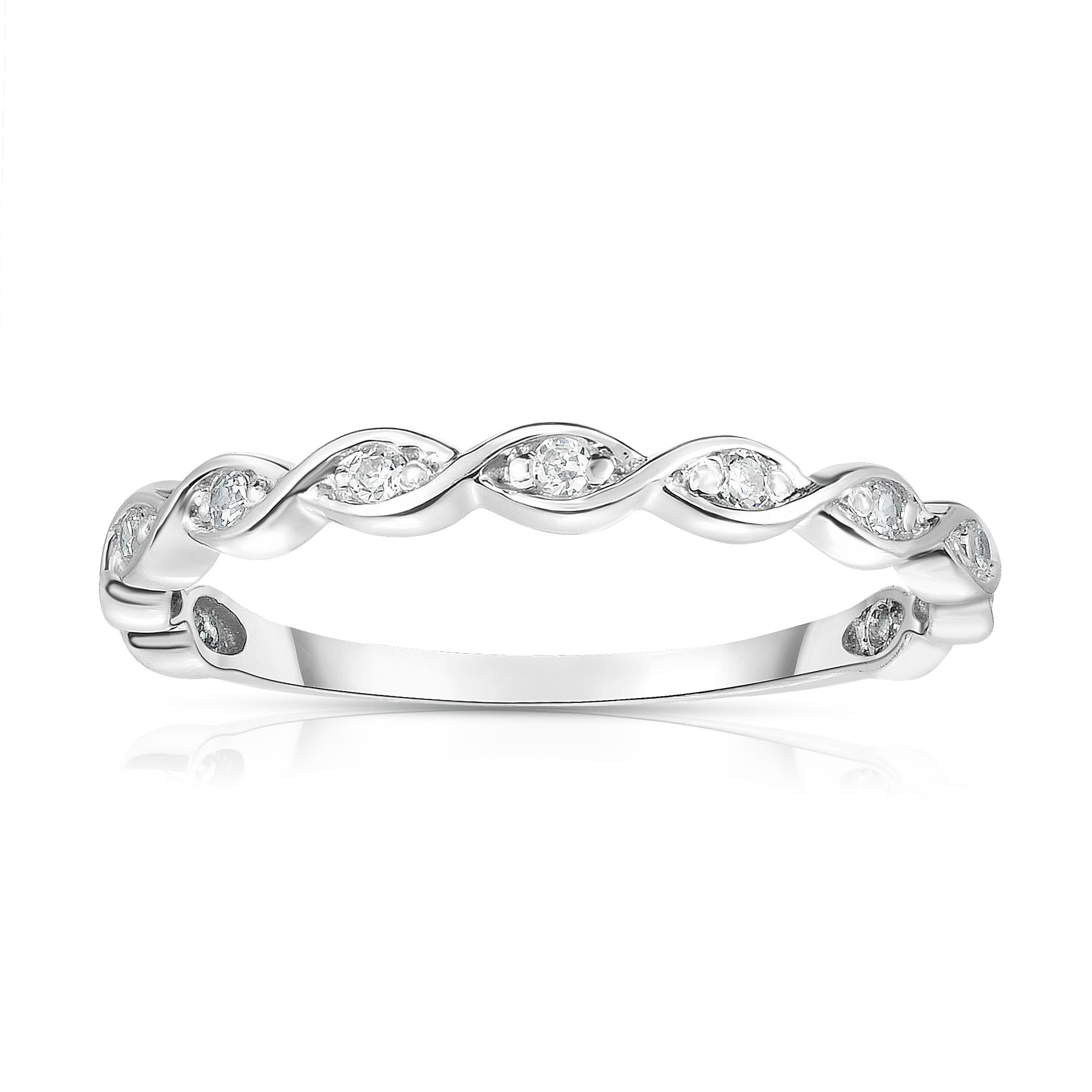 Noray Designs 14K White Gold Diamond (0.07 Ct, G-H Color, SI2-I1 Clarity) Braided Stackable Ring