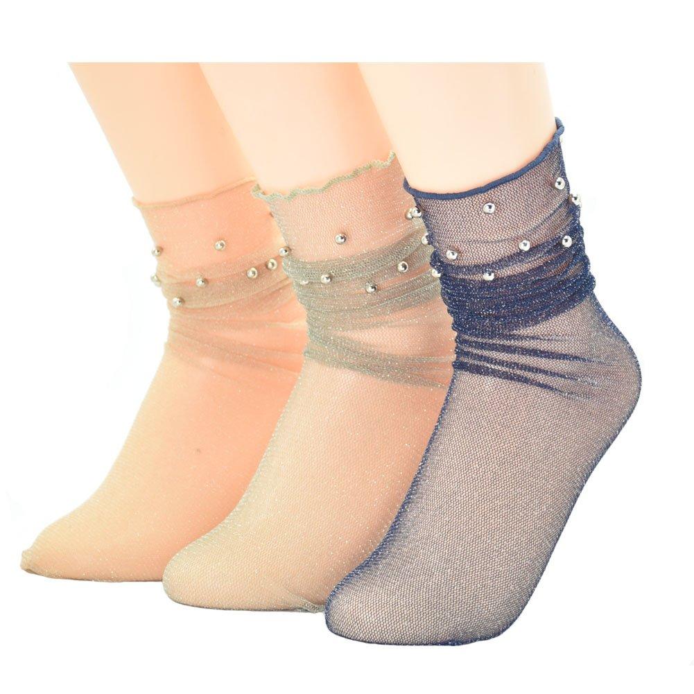 Ziye Shop 3 Pairs Glitter Mesh Silver Beads Fashion Shiny Transparent Elastic Socks