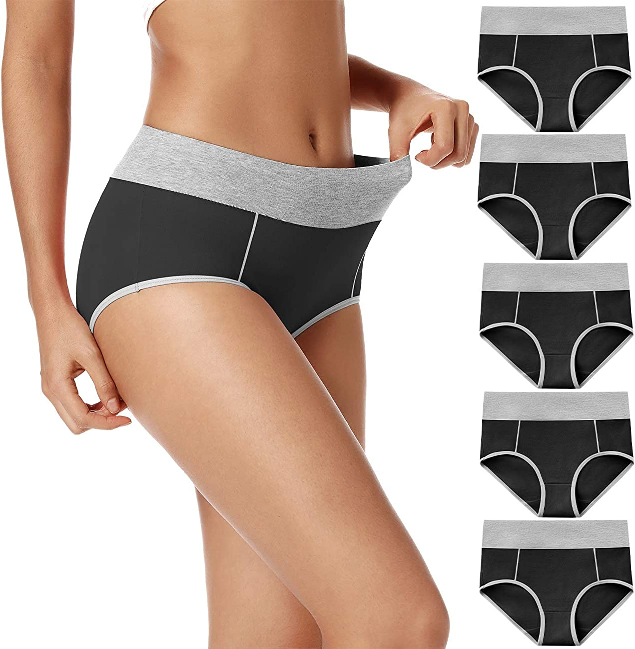 Lot 5-Pack Womens Plus Size Cotton Underwear Panties High Rise Briefs Hipster