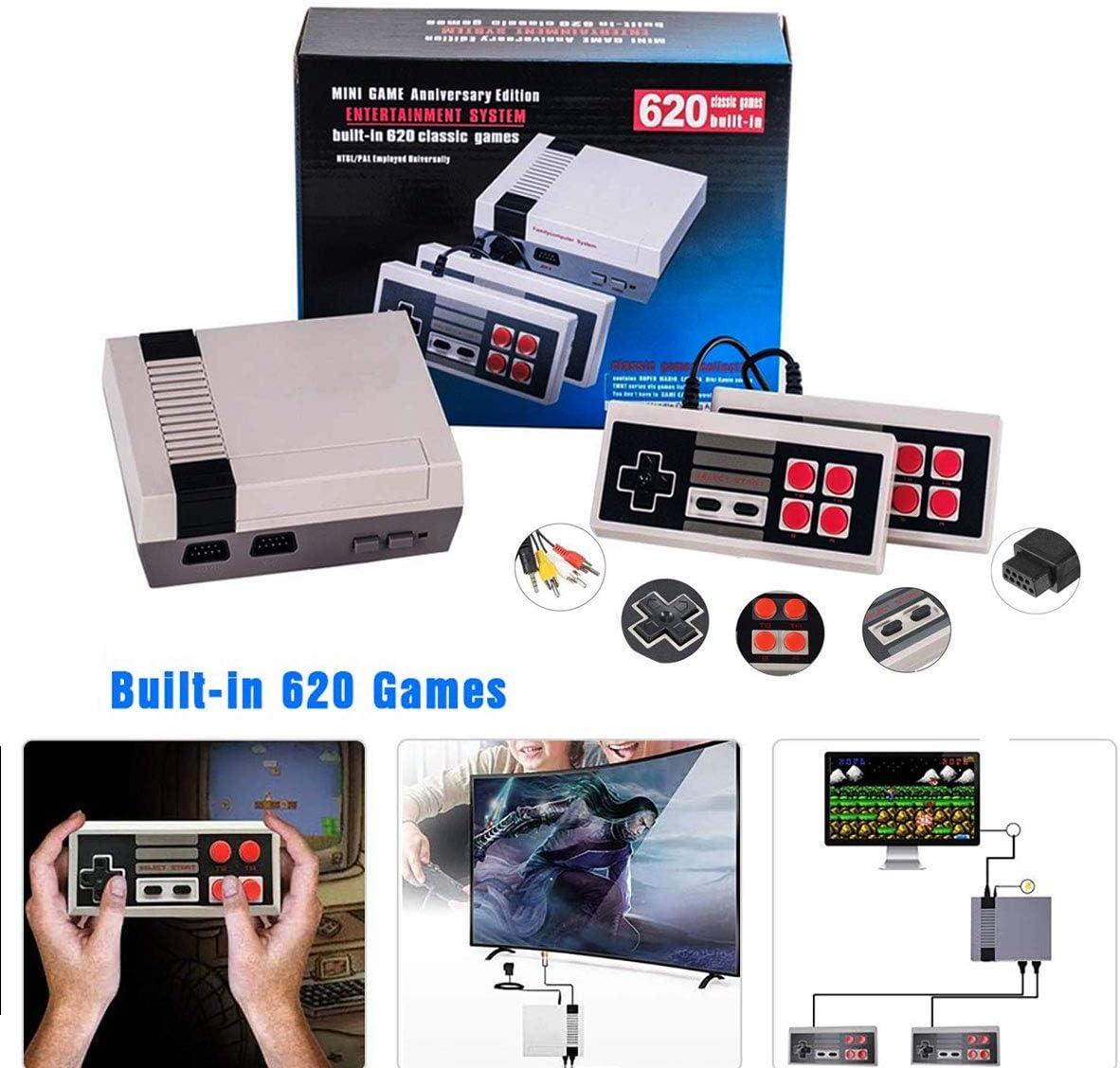 Consola de juegos retro Mini consola clásica Reproductor de juegos de TV Consola de juegos familiar, juegos incorporados de alta calidad 620, trae recuerdos felices de la infancia: Amazon.es: Videojuegos