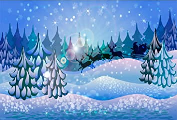 amazon com laeacco cartoon christmas backdrop vinyl 7x5ft snowy forest frosty pine trees santa claus driving the reindeers bokeh haloes background child kids baby portrait shoot new year xmas party banner reindeers bokeh haloes background