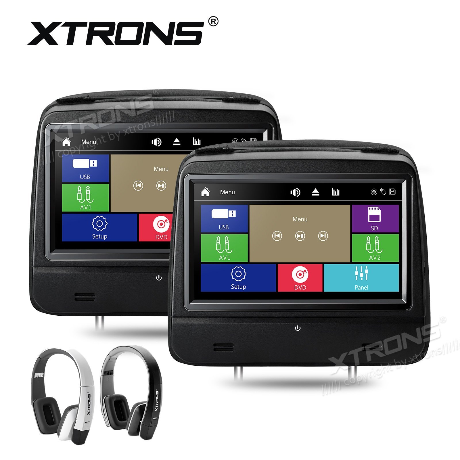 XTRONS 2 x 8 Inch Pair HD Digital Capacitive Touch Screen Leather Cover Car Headrest DVD Player 1080P Video New Version IR Headphones(Black&White)