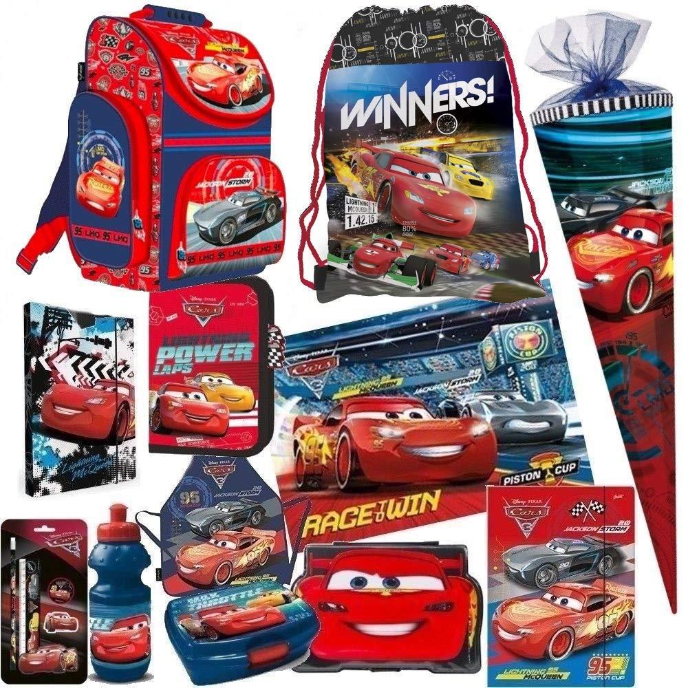 DISNEY CARS AUTO 15 Teile SET SCHULRANZEN RANZEN SCHULTÜTE 85 FEDERMAPPE TASCHE Tornister mit Sticker von Kids4shop INNENMAß: !! 25 x 14 cm !!
