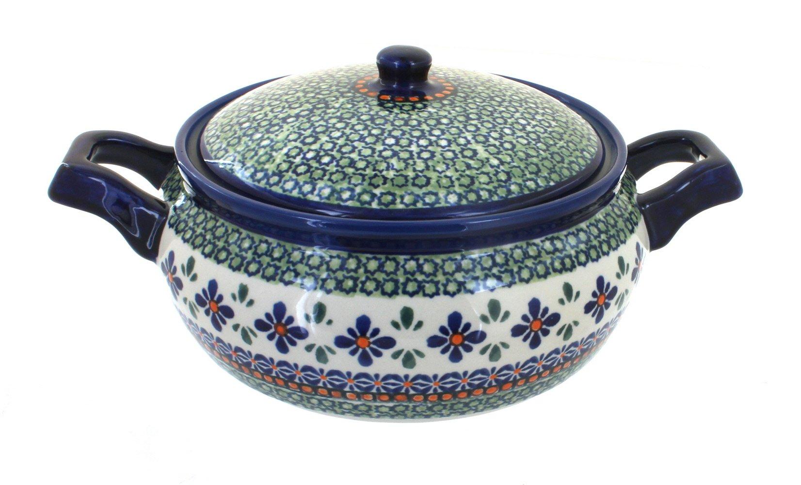 Polish Pottery Mosaic Flower Medium Round Baker with Lid