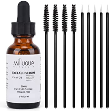 59aac2cfba7 Amazon.com: Castor Oil for Eyelashes and Eyebrows, 100% Pure, Organic and Cold  Pressed, Promote Natural Growth for Lash and Brows, with Treatment  Applicator ...