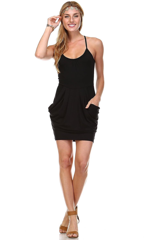 Zoozie LA Womens Plus Size Mini Dress with Pockets Empire Waist Made in USA
