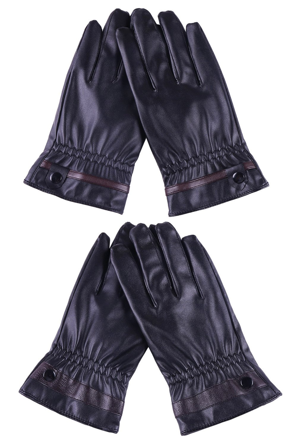 Womens Black Leather Gloves with Fleece Lining Warm Winter Touch Screen Gloves, Pack of 2 Pairs