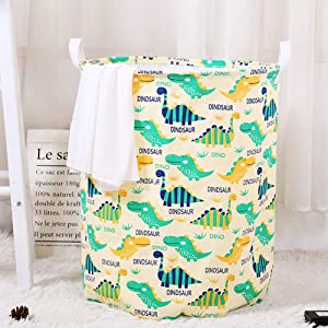 Hibedding Toy Storage Organizer, Canvas Laundry Basket Hamper Foldable with Waterproof PE Coating Large Storage Bins for Kids Boys and Girls, Office, Bedroom, Clothes,Toys, Blue Dinosaur