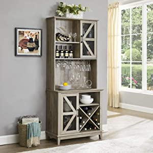 Home Source Bar Cabinet and Coffee Station (Grey Wash)