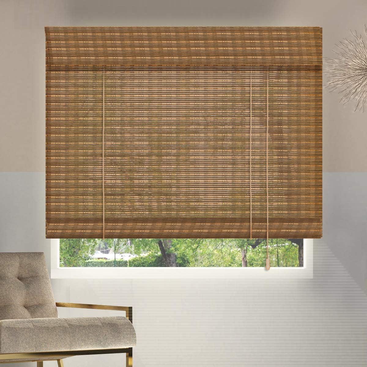 ZY Blinds Bamboo Window Blinds, 24W x 36H Inches Bamboo Light Filtering Roll Up Window Roller Shades with Valance for Doors, Sliding Door, Restaurant, Kitchen, Living Room, Porch, Balcony, Pattern 11