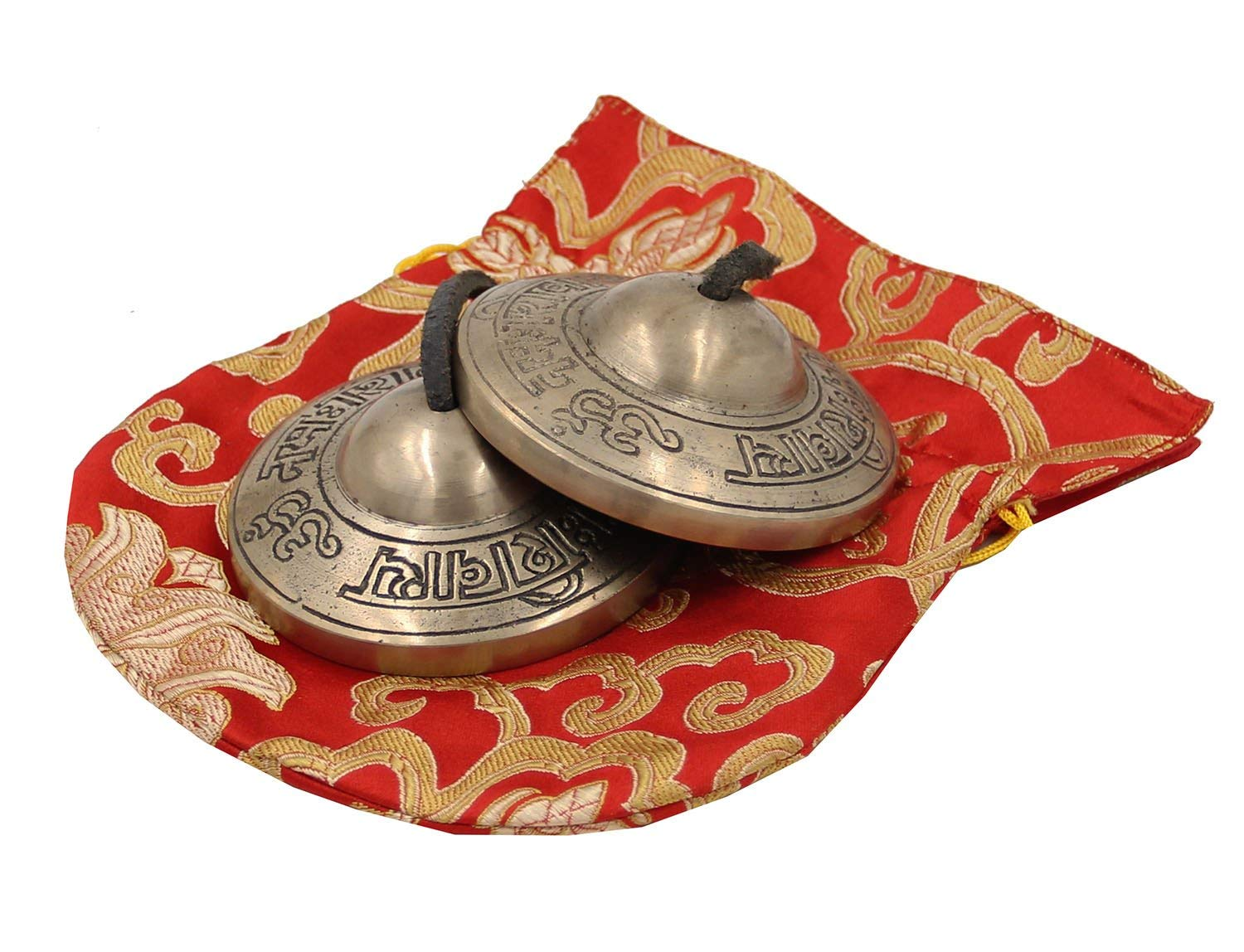 DharmaObjects Tibetan Premium Quality ''Om Nama Shivaya'' Tingsha Cymbals With Pouch (Large) by Lungta Imports
