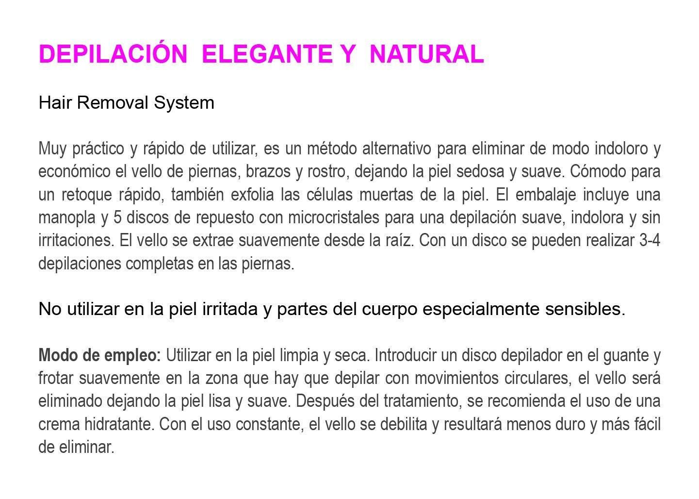 Depilación natural (manopla con 5 discos de recambio): Amazon.es: Salud y cuidado personal