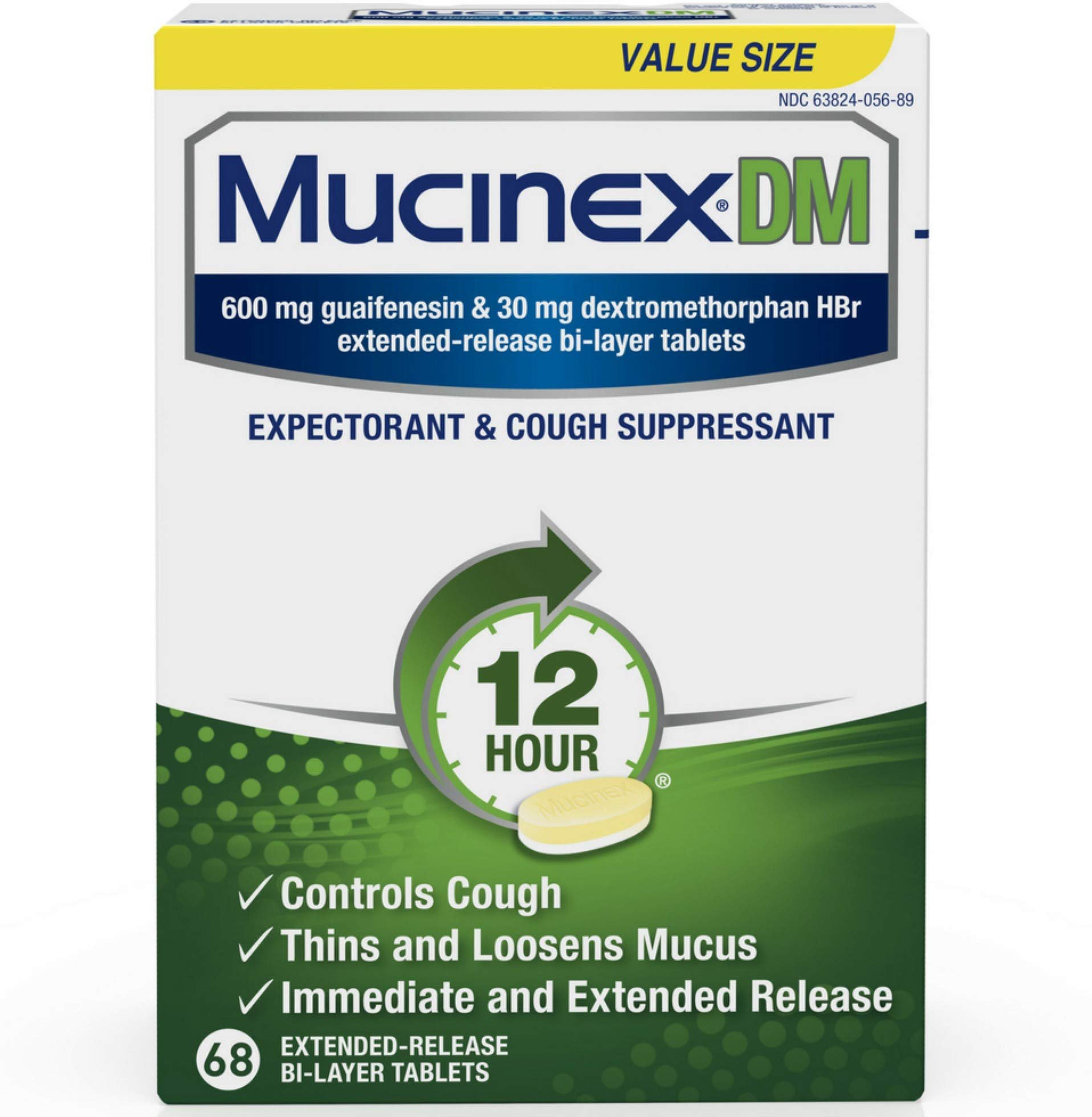 Mucinex Mucinex dm Maximum Strength Extended Release bi-Layer Tablets 68 Count, White, 68 Count