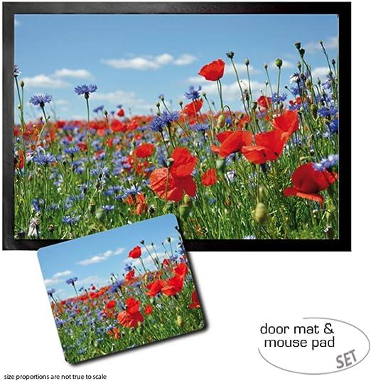 Blumen #94662 70x50cm Mohn Mohnblumenfeld Wiese Fußmatte Türmatte