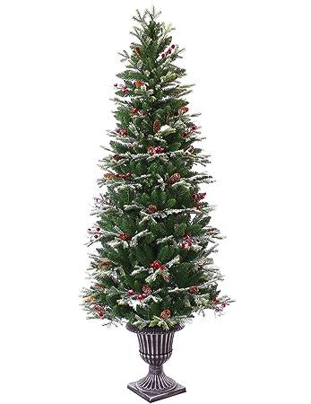 Amazon.com: ABUSA Pre-lit Potted Pencil Christmas Tree 6.5 ft ...