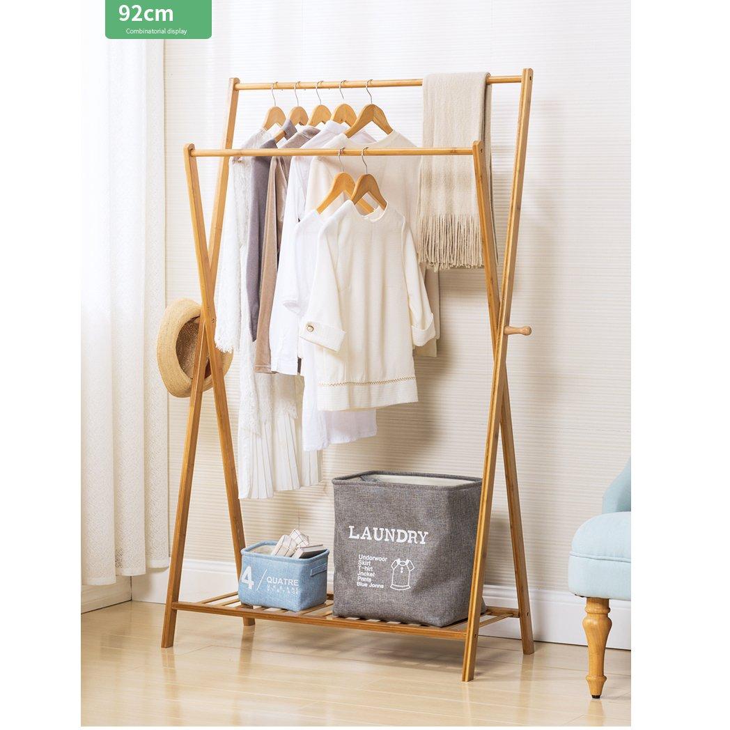 Waterproof Wood Coat Racks,Garment Rack Multipurpose Bamboo Coat and Shoe Rack hat Bag Rack Bedroom Simple Floor Standing Coat Rack Storage Living Office Cloakroom Assemble-C L92cmxW43cmxH155cm