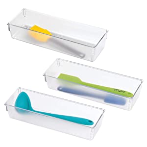 """mDesign Compact Plastic Kitchen Cabinet Drawer Organizer Tray - Storage Bin for Cutlery, Serving Spoons, Cooking Utensils, Gadgets - BPA Free, Food Safe - 3"""" Wide, 3 Pack - Clear"""