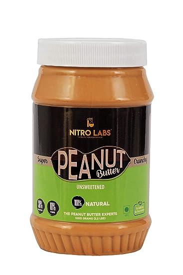 Nitro Labs Peanut Butter Natural No Preservative No Additives No Sweetener,Keto Diet Friendly, Gluten Free, GMO Free (Super Crunchy, 1 kg)