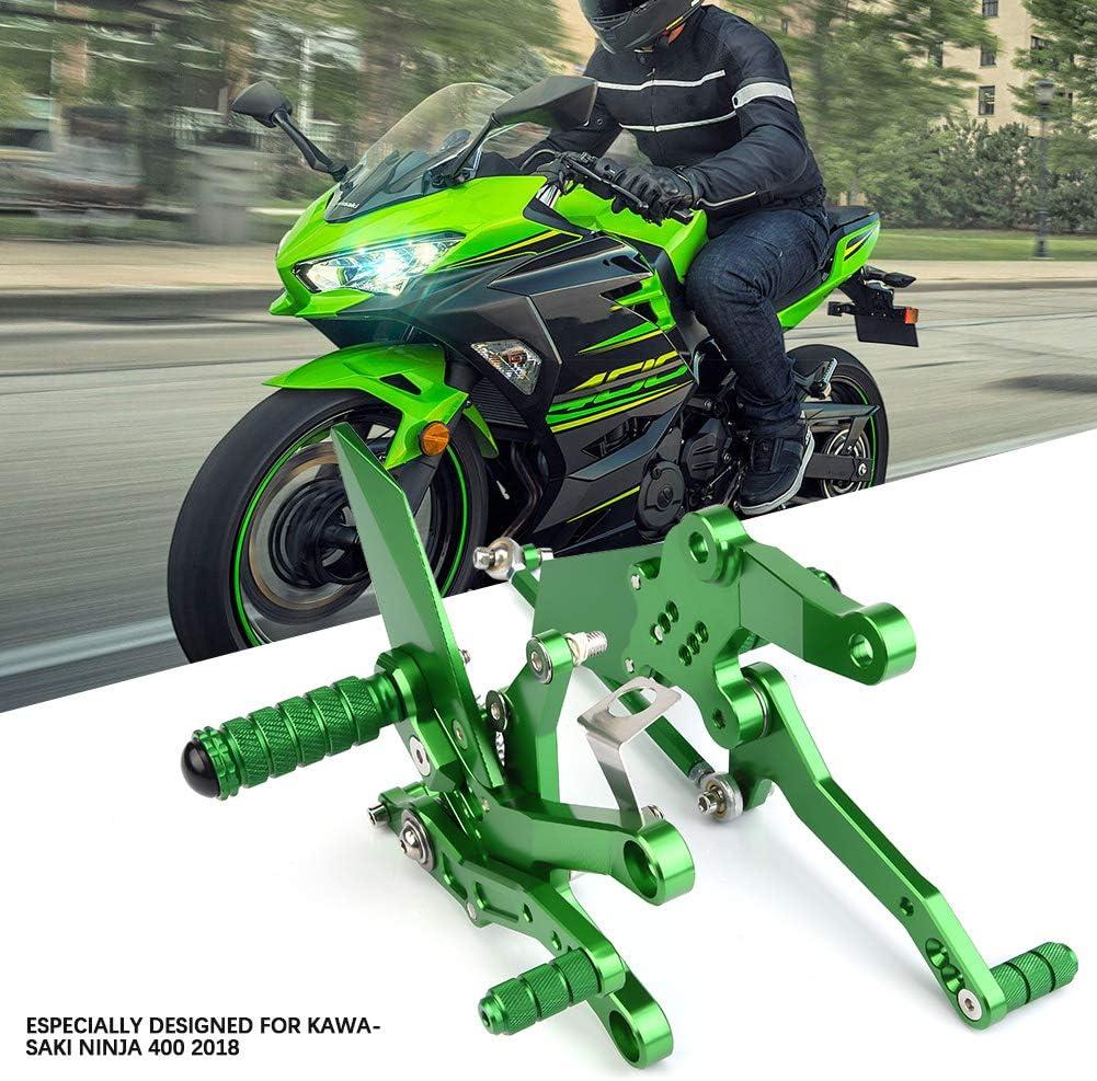Negro Reposapi/és para motocicleta aleaci/ón de aluminio para motocicleta Reposapi/és ajustable para reposapi/és ajustable Super Cool Cool para Ninja 400 2018