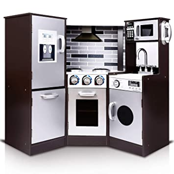 TUSY Kids Kitchen Playset, Play Kitchen for Toddlers, Kids Play Kitchen Set  with Ice Maker and Removable Sink, Brown.