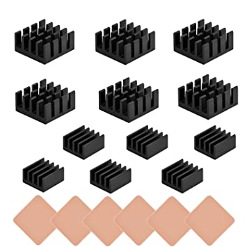 Pi 2 Negro 6 Piezas Disipador de Calor Aluminio Kit de Refrigeraci/ón para Raspberry Pi 3 Pi Modelo B+