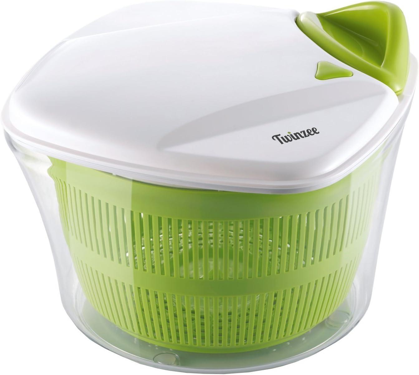 Twinzee - Essoreuse à Salade Grande Capacité (5L) - Design Innovant - Poignée ergonomique et Bouton Stop