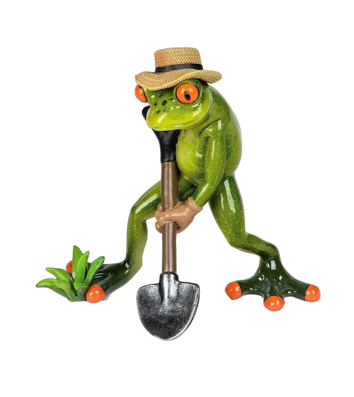 Frosch Gärtner mit Spaten Lurch Kröte Unke Gecko Deko Tier Figur Skulptur Statue