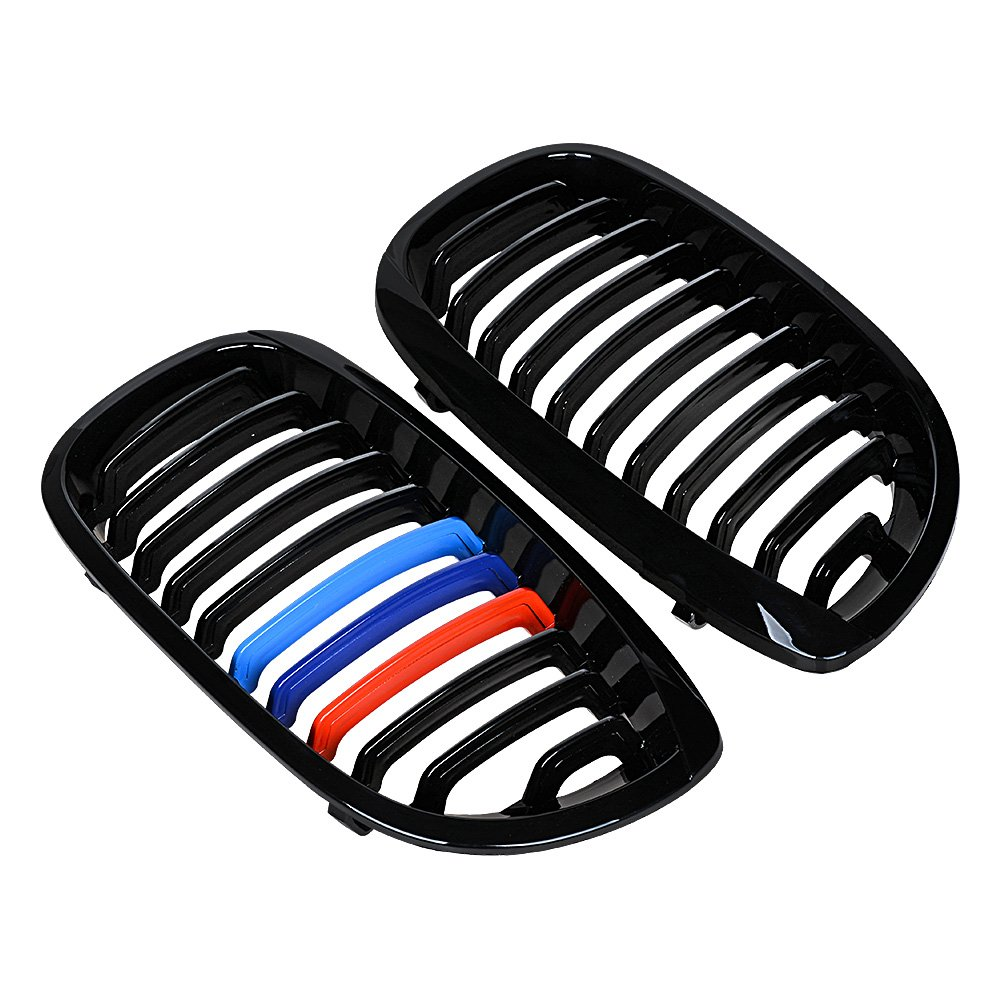 Compatible with 1999-2002 BMW 325Ci 2-Door Front Kidney Grilles Glossy Black M-Color