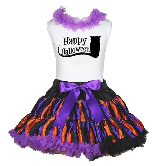 Petitebella Plain White Cotton Shirt Purple Bling Skirt Set 1-8y