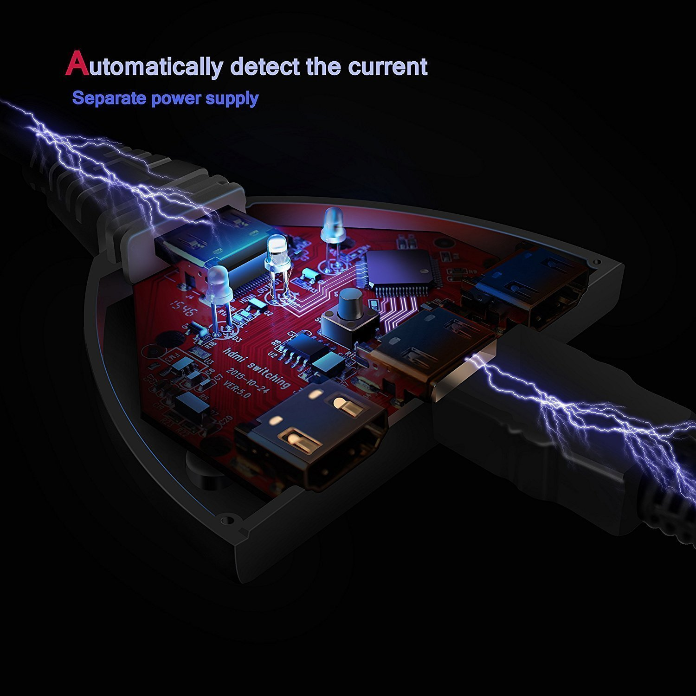 HD Audio Switch Commutateur HDMI 1080P Supporte 3D Kiirie HDMI divis/é en 3 ports de qualit/é sup/érieure avec c/âble HDMI de haute vitesse