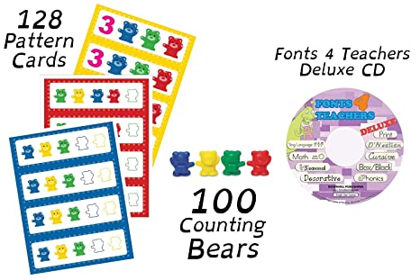 Amazon com: Set of 100 Counting Bears + 128 Pattern Cards +