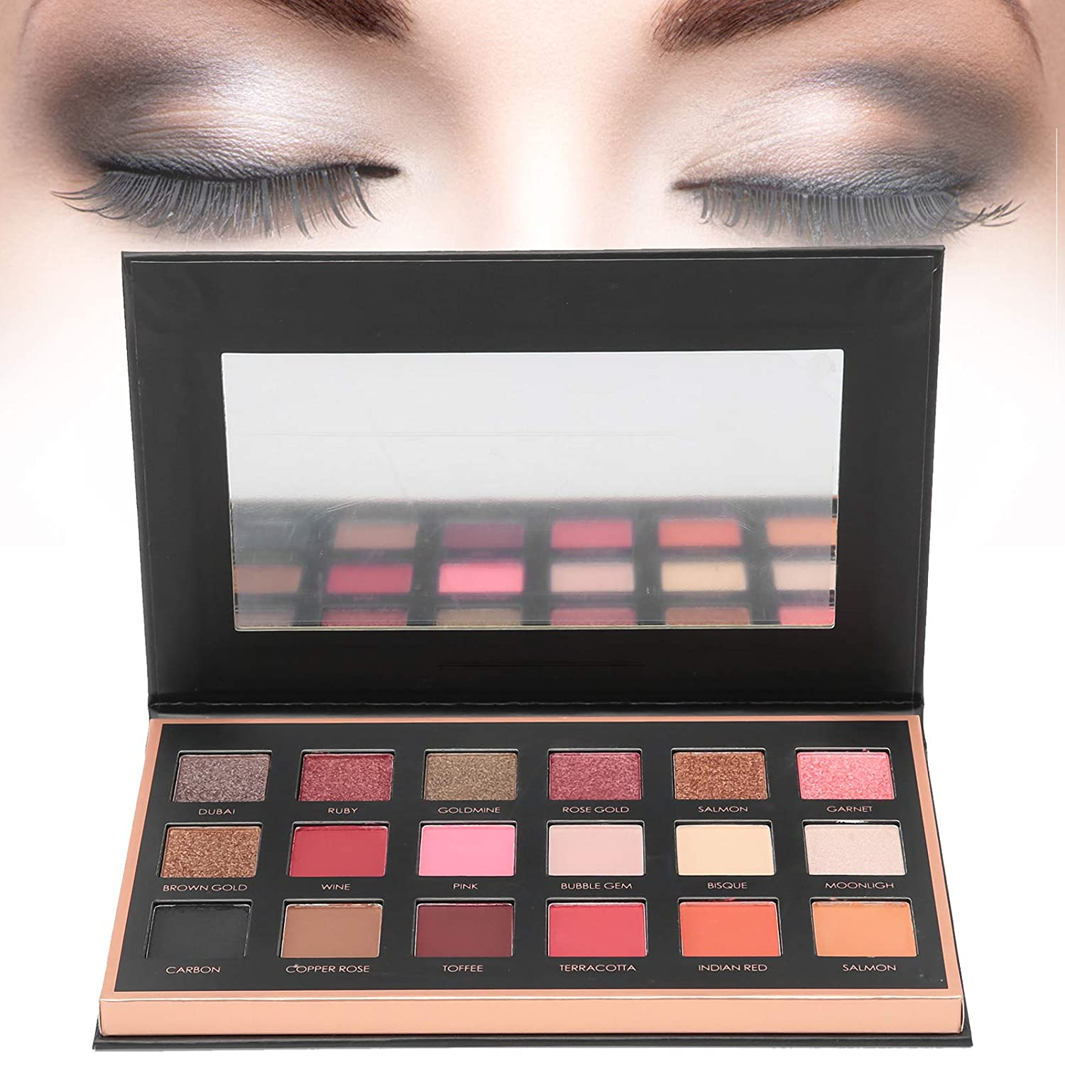 Eyeshadow Palette Makeup, Matte Shimmer 18 Colors, Makeup Naked Eyeshadow Palette Highly Pigmented Professional Nudes Warm Natural Bronze Neutral Smoky Cosmetic Eye Shadows(1A#)