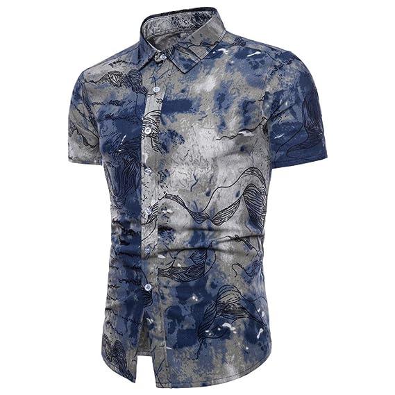 LuckyGirls Camisetas Hombre Originales Manga Corta Estampado de Floral Moda Polos Deporte Casual Slim Negocio Camisas… S499uBq