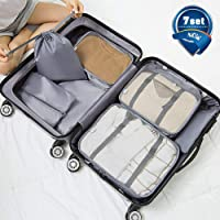 Packing Cubes, Travel 7 Set Luggage Organizer with Laundry Bag, Shoe Bag, Cosmetic Bag, Zippered Bag, Luggage Compression Pouches, Waterproof and Rip Resistance (Grey)