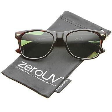 fc2da05ba5b zeroUV - Classic Eyewear Iconic 80 s Retro Large Horn Rimmed Sunglasses  54mm (Tortoise   Green