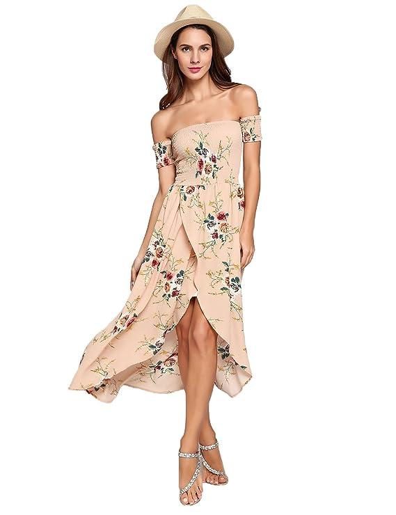 6e9d08a837d4 Asatr Women s Boho Off Shoulder Sleeve Floral Print Split Flowy Party Maxi  Dress at Amazon Women s Clothing store