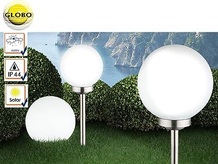 Lot de 3 lampes solaires LED boules de jardin avec piquet et ...