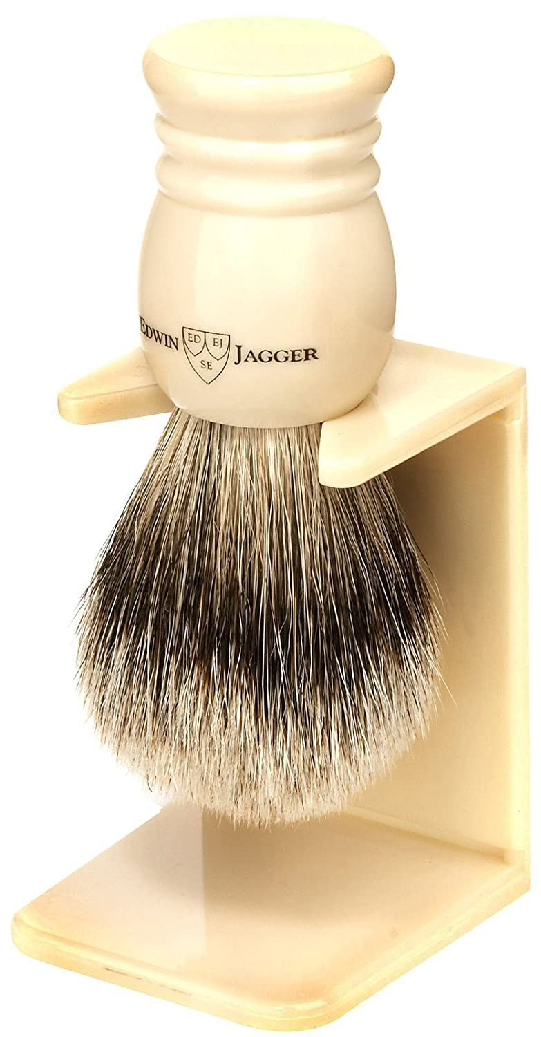 Edwin Jagger 9ej257sds Handmade Imitation Ivory Shaving Brush with Drip Stand, Ivory, Small 9EJ257SDSAMZ