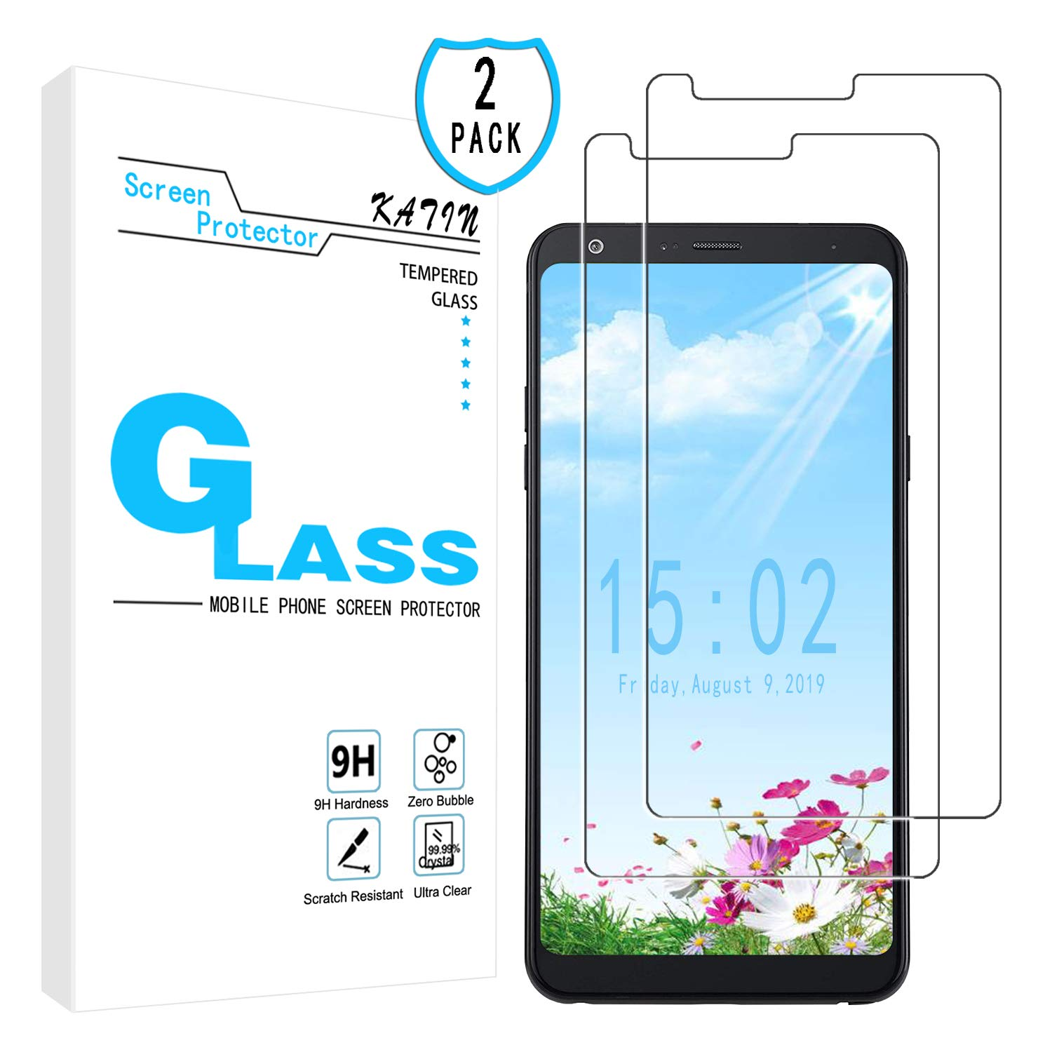 KATIN LG Stylo 4 Screen Protector - [2-Pack] Tempered Glass for LG Stylo 4 Screen Protector Anti-Scratch, Bubble Free with Lifetime Replacement Warranty