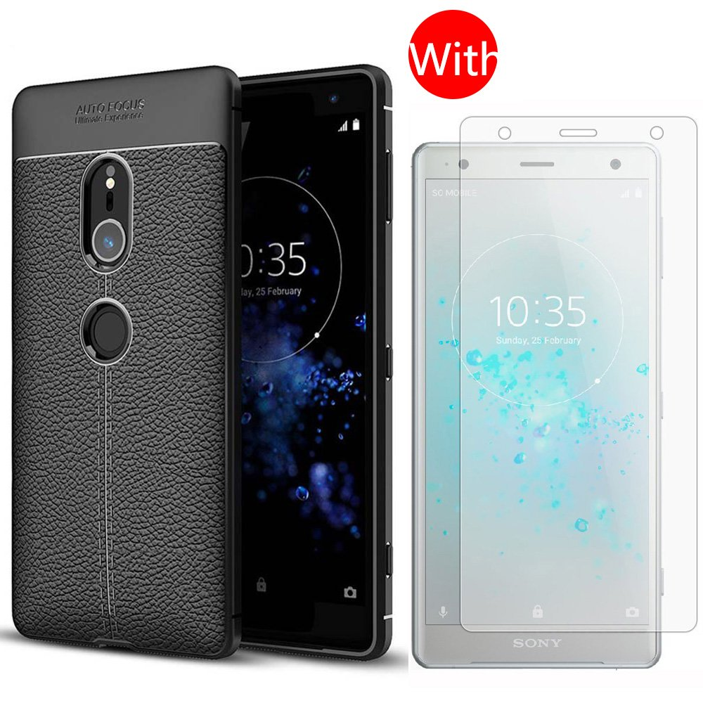 lovely For Sony Xperia XZ2 H8296 Case with Screen Protector-Full Coverage Soft Slim and Lightweight Protective Leather Case with [2 PACK] Clear 9H Hardness Tempered Glass Screen Protector for Sony Xperia XZ2