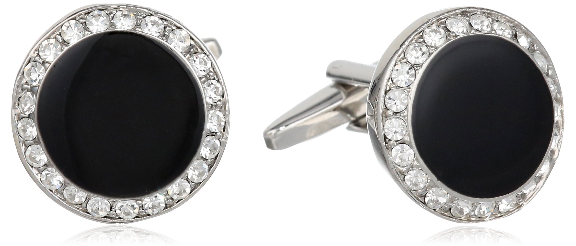 Stacy Adams Men's Round Silver Cuff Link With Black Enamel and Crystals, Silver/Crystal, One Size