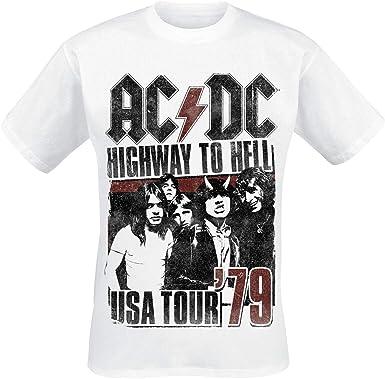AC/DC USA Tour 1979 Hombre Camiseta Blanco, Regular: Amazon.es: Ropa y accesorios