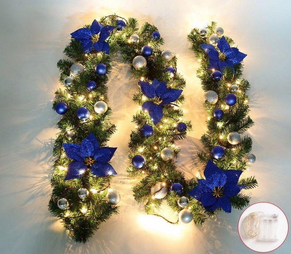 Guirlandes Couronnes 2.7 Mètres Fenêtre Porte Escalier Escalier Cheminée Arbre De Noël Boutique Hôtel Décoration De Bureau Fleur De Noël Avec La Lumière, Bleu Avec La Lumière WDDOPEN66