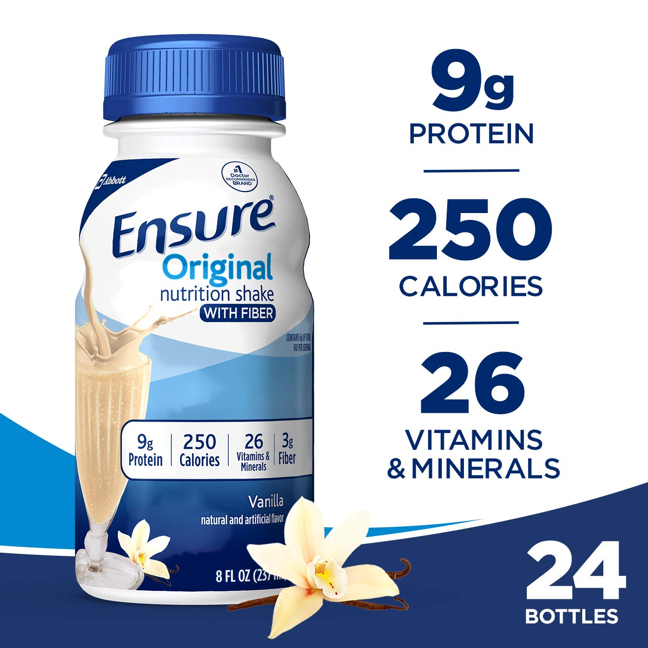Ensure Original Nutrition Shake with Fiber, 9g High-Quality Protein, Meal Replacement Shakes, Vanilla, 8 fl oz, 24 count by Ensure Original