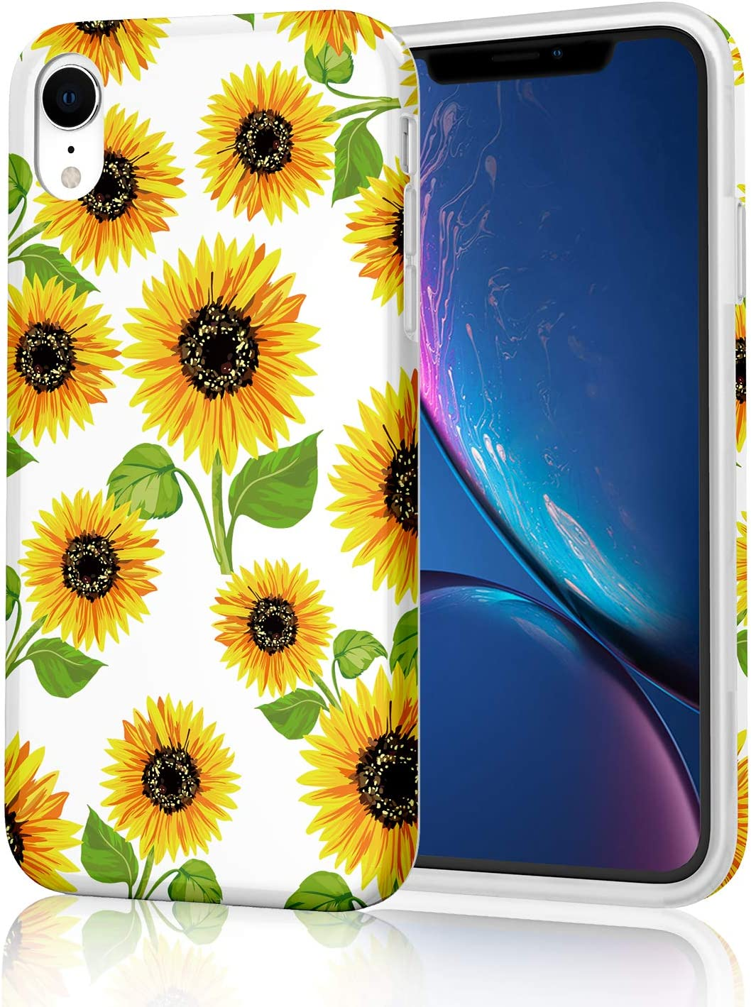 Floral Sunflower Design Cute Protective Phone Case for iPhone XR, Raised Edges Yellow Flowers Pattern Girly Women Soft TPU Glossy Rubber Silicone Skin Cover for iPhone XR