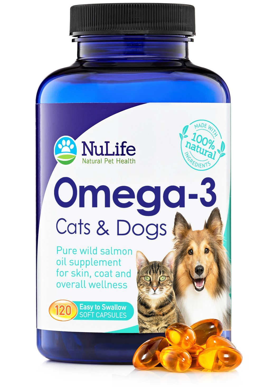 Pure Omega 3 Fish Oil for Dogs & Cats, Wild Caught Alaskan Salmon Oil Supplement for Pets, for Healthy Skin & Shiny Coat, Improves Shedding & Relieves Dry, Itchy Skin, 500mg, 120 Capsules by NuLife Natural Pet Health
