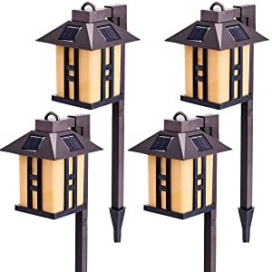 GIGALUMI Solar Powered Path Lights, Solar Garden Lights Outdoor, Landscape Lighting for Lawn/Patio/Yard/Pathway/Walkway/Driveway (4 Pack)