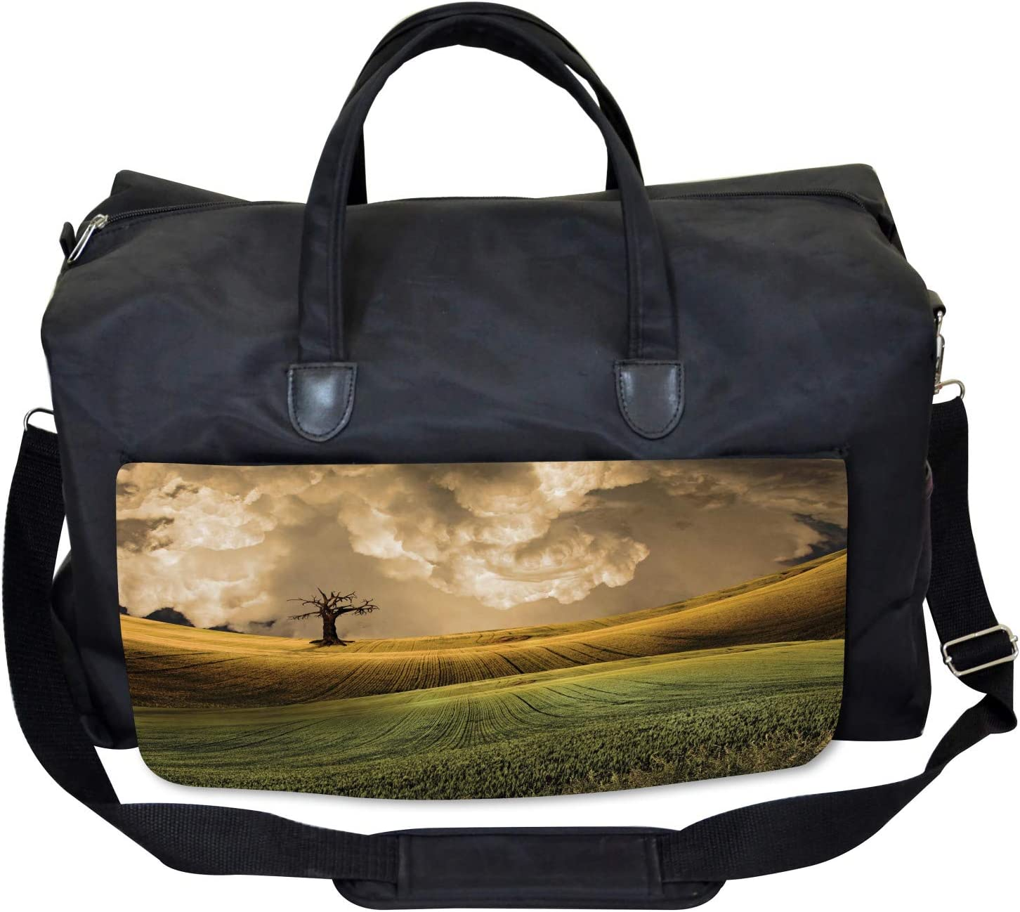 Large Weekender Carry-on Ambesonne Colorful Gym Bag Landscape Sky Tree