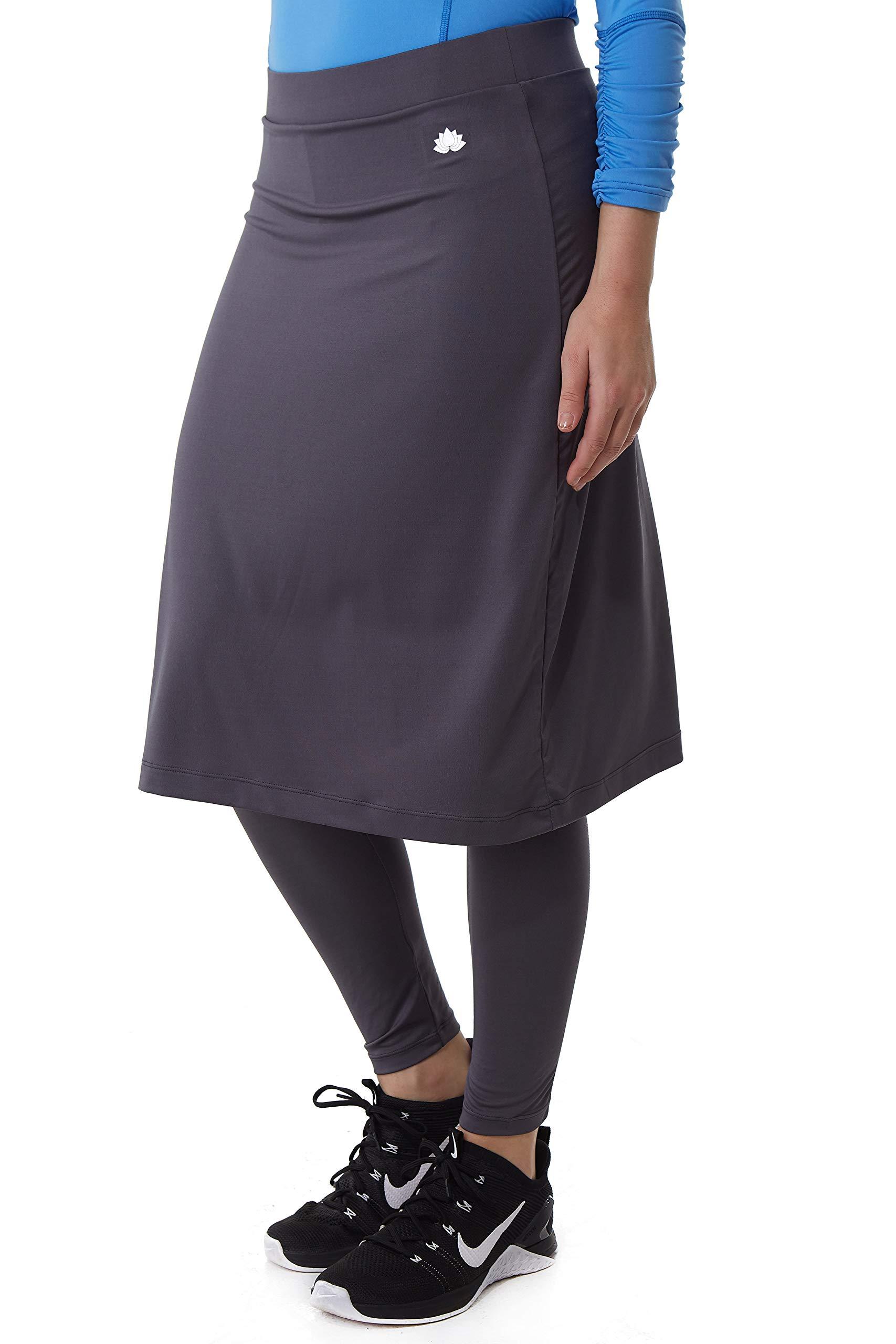 Snoga Athletics Active Midi Skirt with Ankle-Length Leggings - Smoke Grey, XS