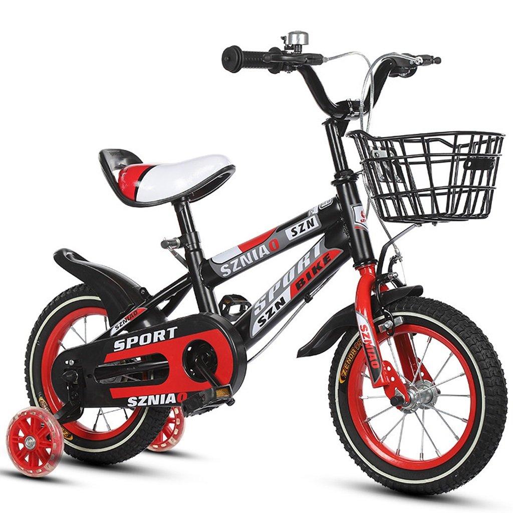 子供の自転車18インチの男性と女性のベビーカー6-9歳の子供の車高炭素鋼フレーム、オレンジ/ブルー/レッド (Color : Red) B07CZYKNPY